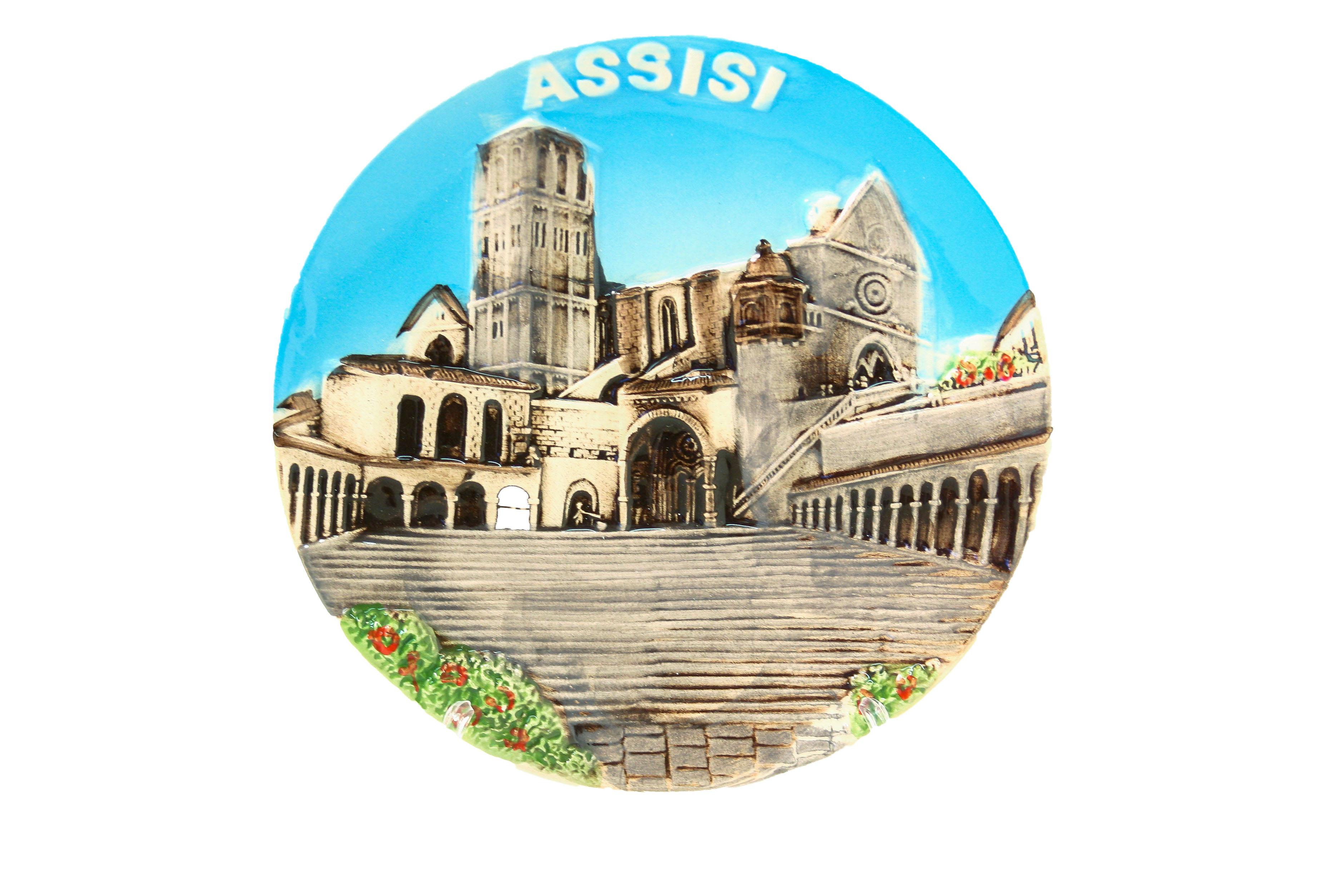 Ceramica Piatto Souvenir ASSISI cm. 15 c/supporto