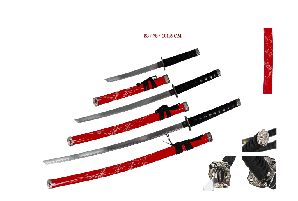Set Katane rosse con espositore legno