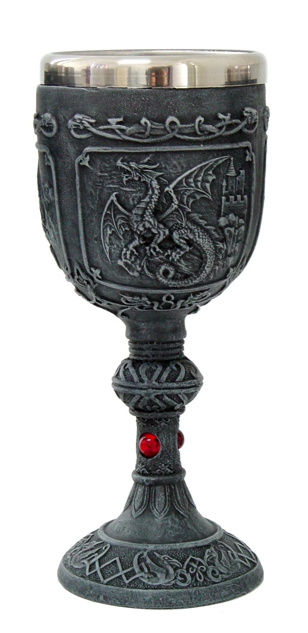 Drago bicchiere con silver cm. 20x8