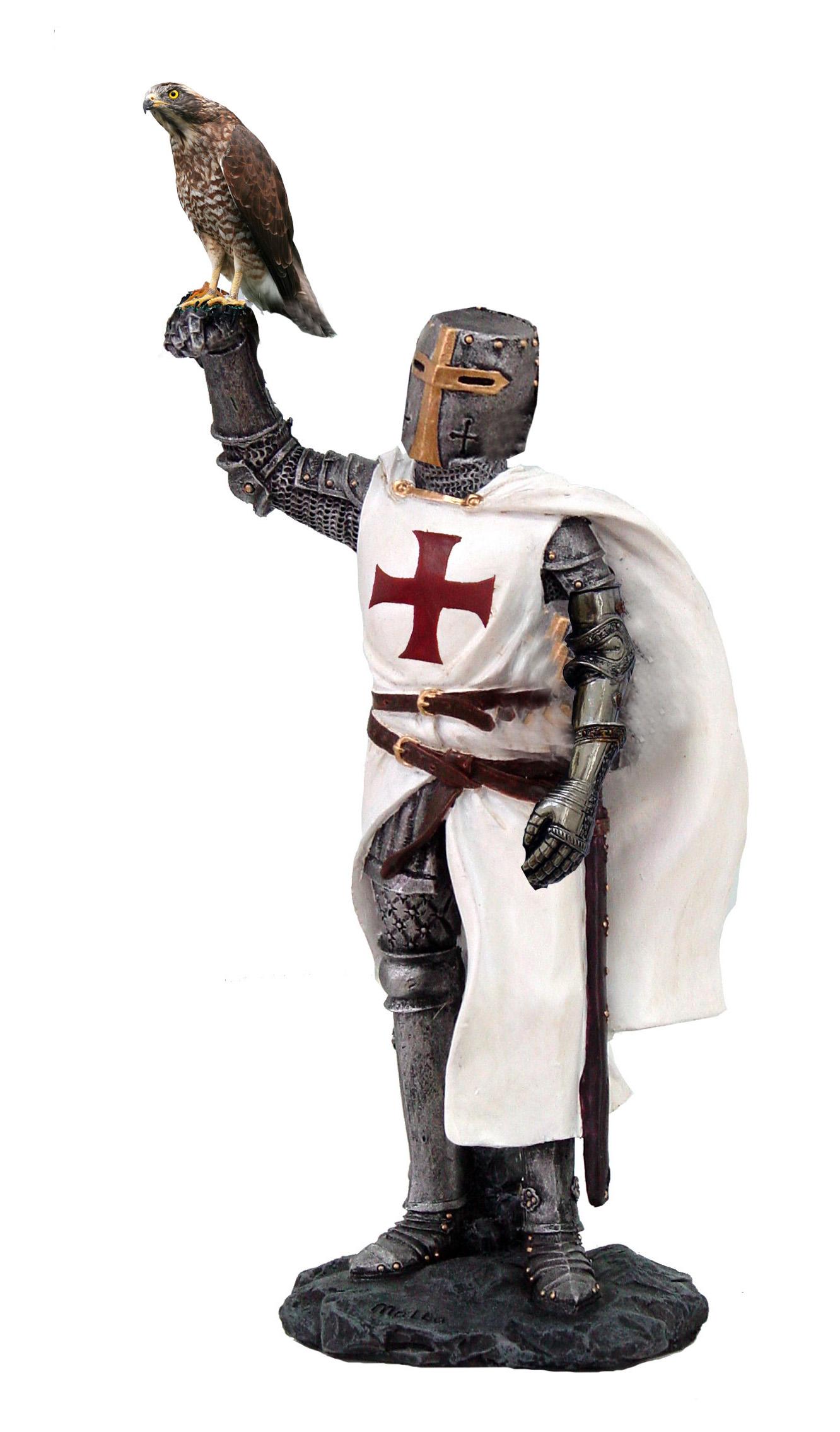 Medievale Templare con falco H cm. 20