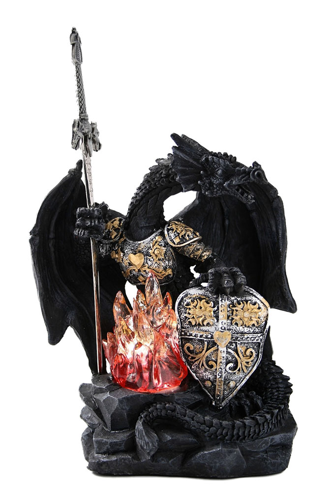 Drago nero c/fiamma + luce cm. 25