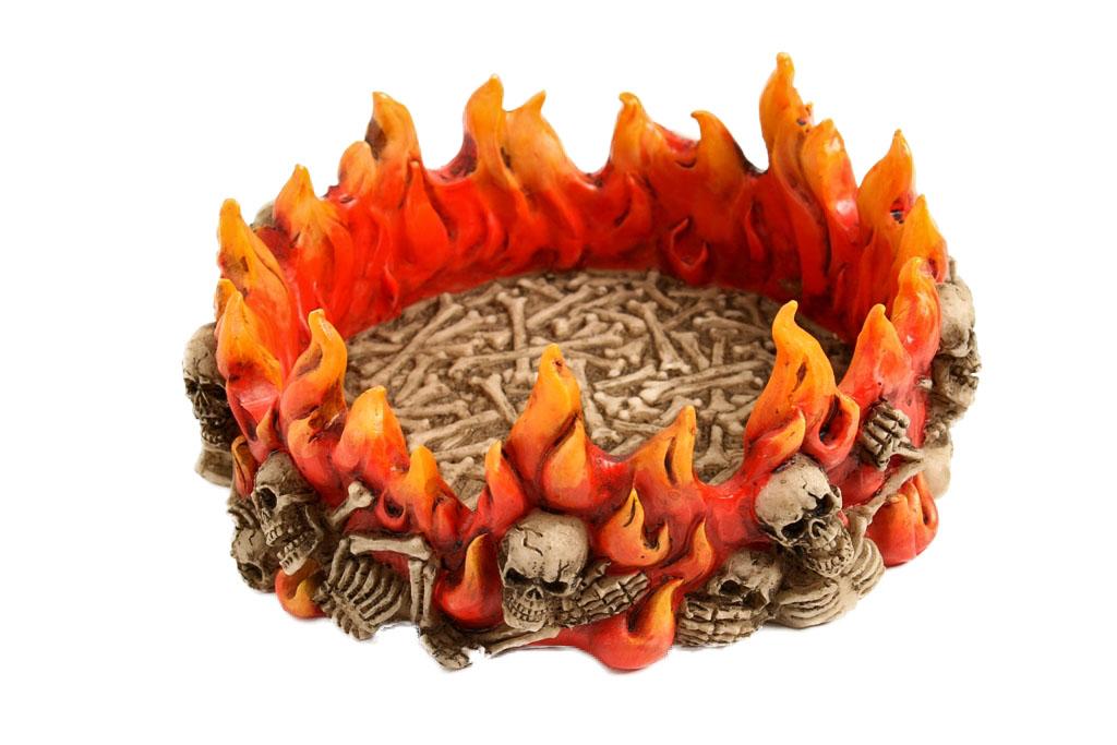 Teschio posacenere resina c/fiamme