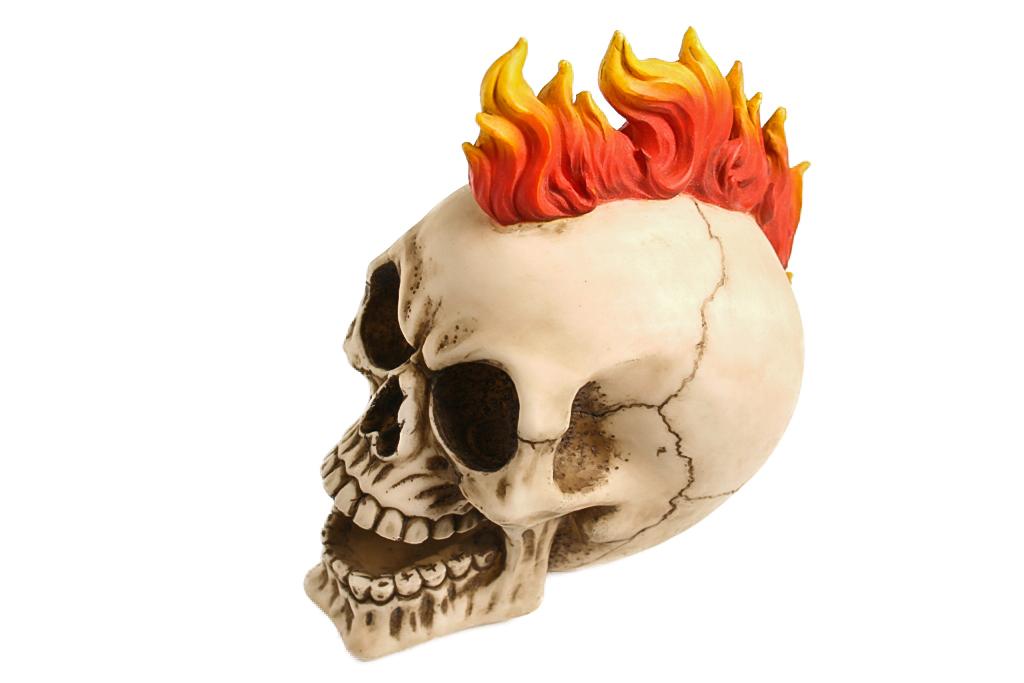 Teschio resina con cresta e fiamme H cm. 13