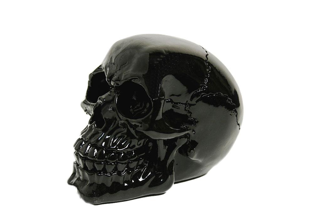 Teschio resina nero medio cm. 11x8,5