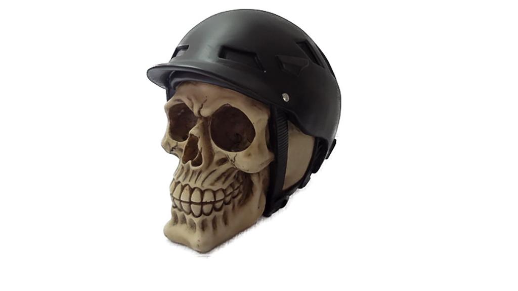 Teschio con casco da ciclista nero cm. 13x14
