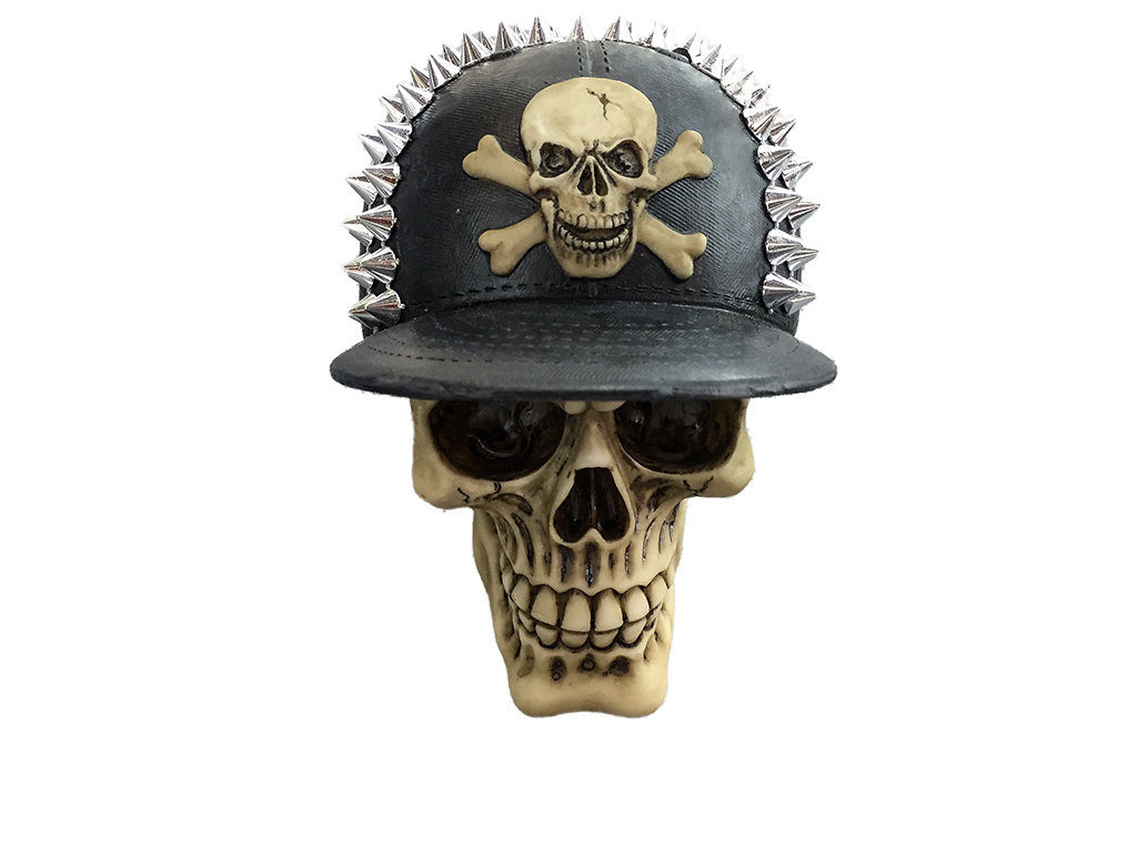 Teschio Cappello Speroni metal H cm. 25x25