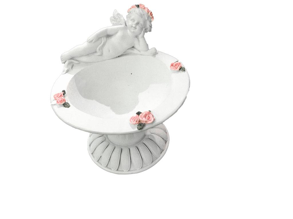 Angeli resina fiori rosa acquasantiera h cm 20x14