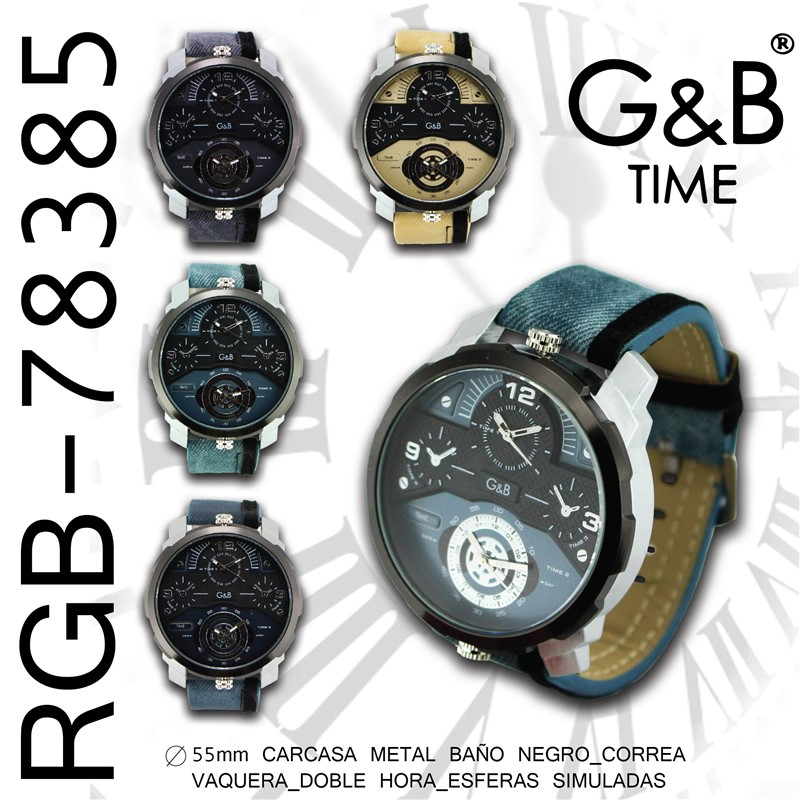Orologio GB uomo pu/denim xl 2 crono reali
