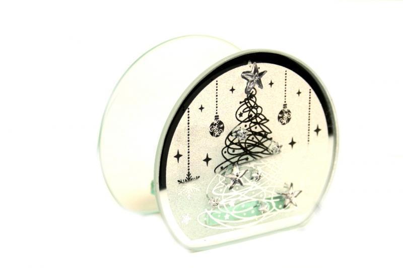 Candela vetro ovale Natale con stelle h cm. 10