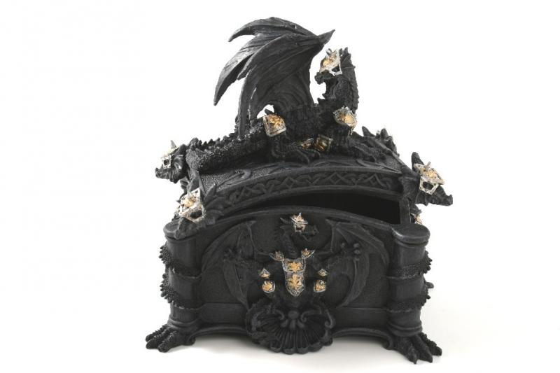 Drago nero scatola H cm. 18