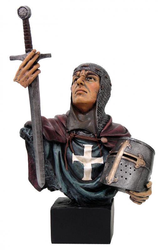 Medioevale busto con spada ed elmo h cm. 15