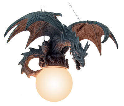 Drago lampada da appendere ali aperte