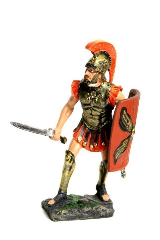 Romano resina con daga e scudo h cm. 16