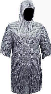 Maglia di cotta COMPLETO 15.5 kg. argento  XL