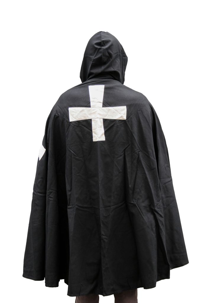 Mantello nero + croce templare bianca