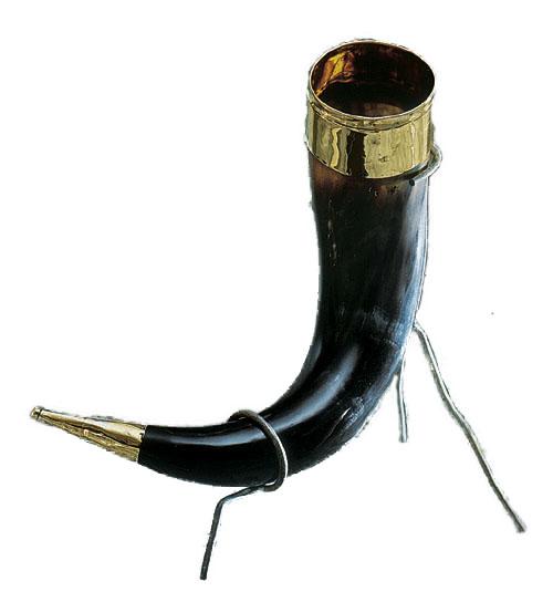 Bicchiere in corno vikingo con stand H cm. 25