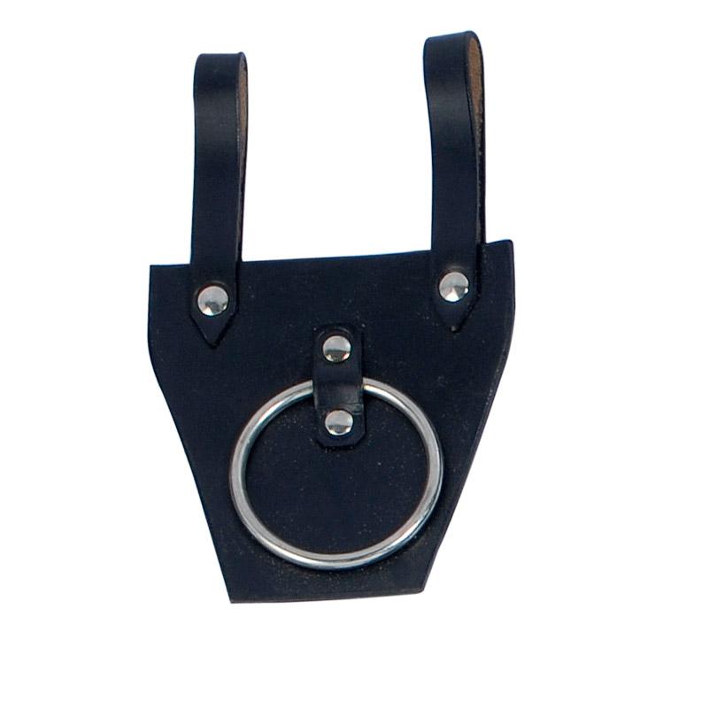 Porta spade cuoio con anello metallo