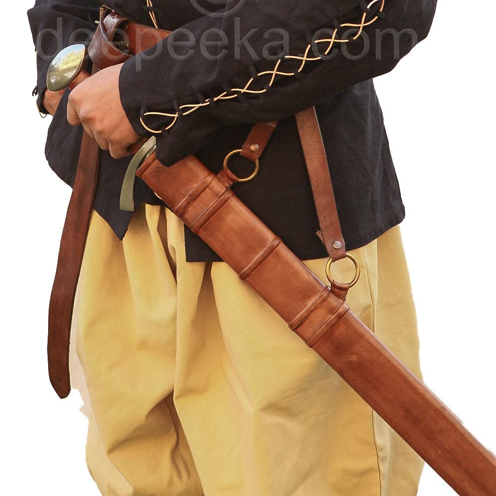 Cintura porta spada cuoio rossa