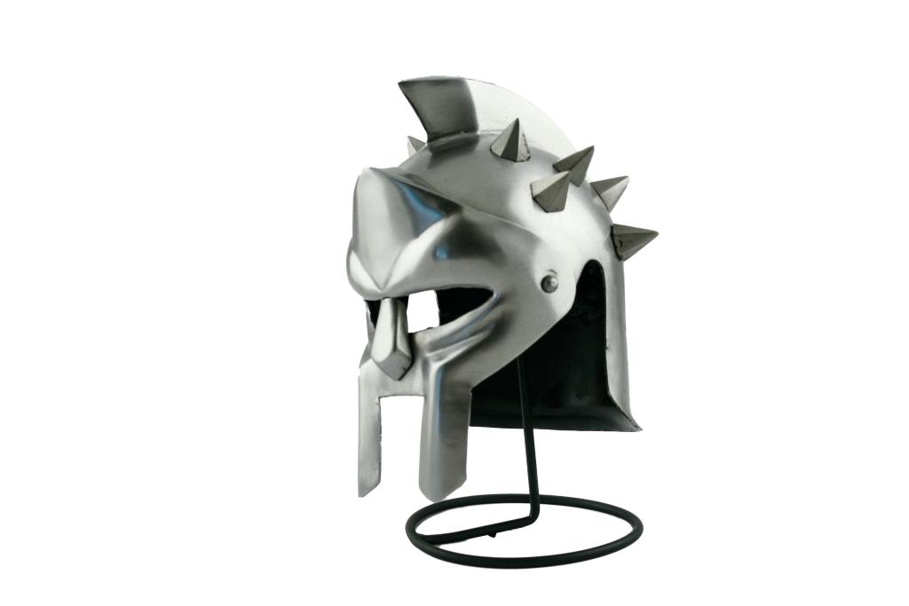 Elmo acciaio Gladiatore c/punte Mini+stand metallo