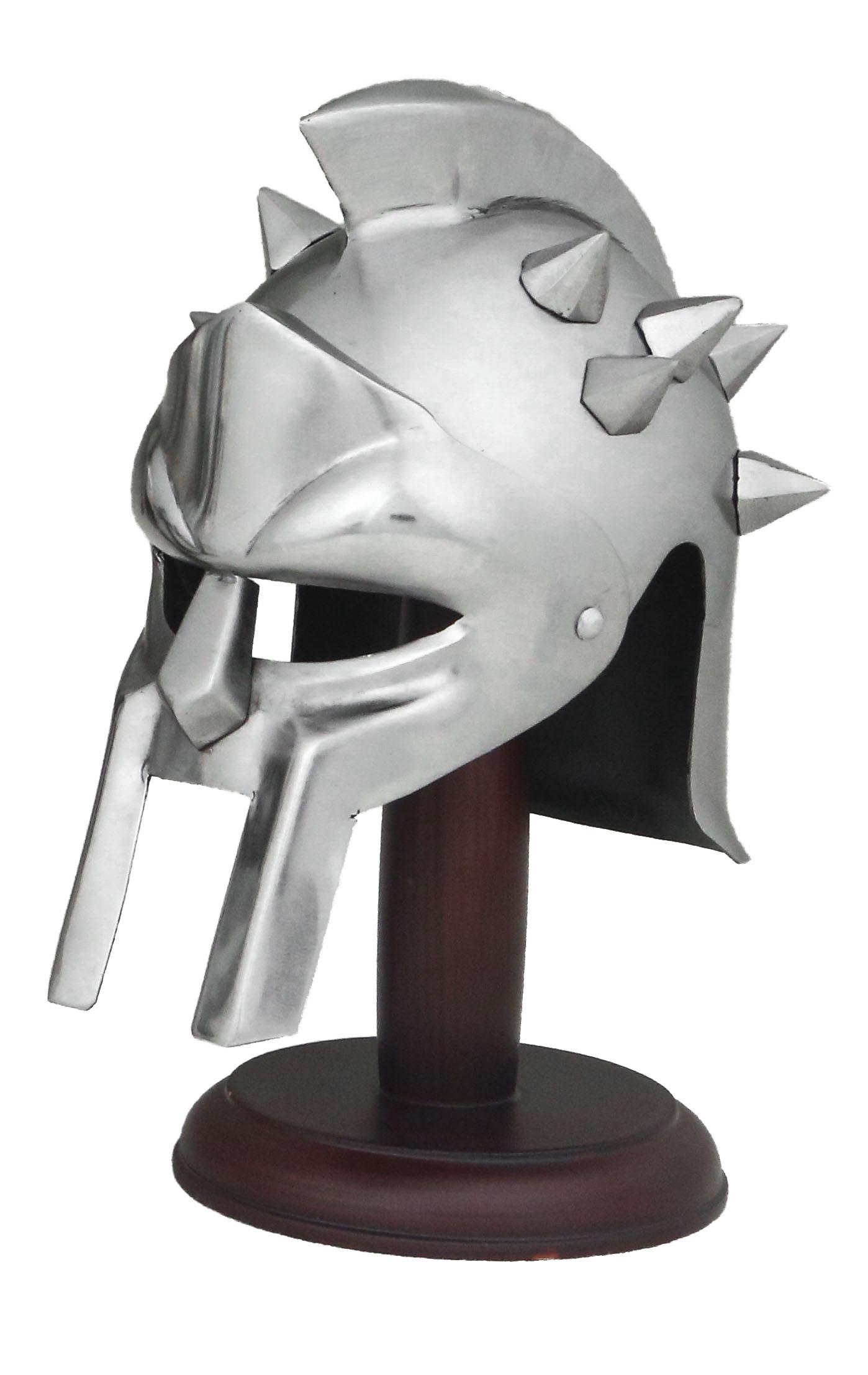 Elmo acciaio Gladiatore Romano  c/punte Medio + stand legno