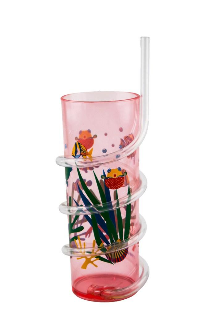 Bicchiere plastica con cannuccia 2 colori ass.ti