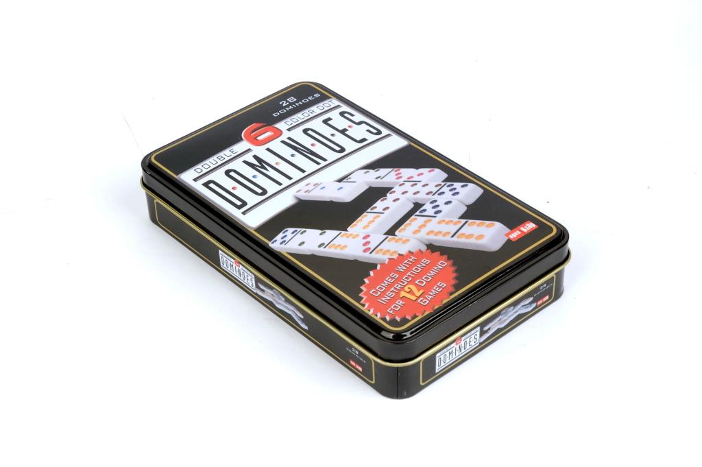 Gioco domino scatola metallo