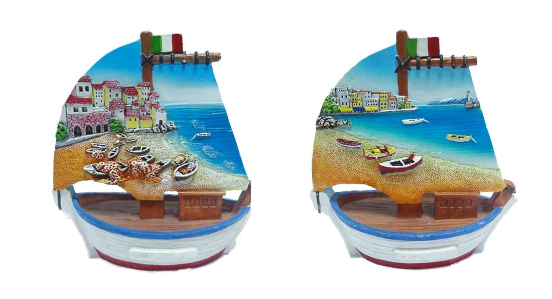 Barca resina con vedute mare cm. 11x10x5