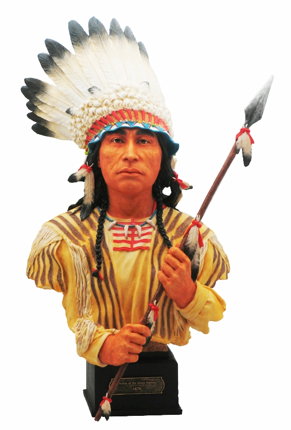 Indiano d'America busto con lancia h cm. 37,50