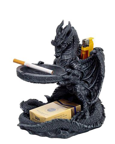 Drago posacenere p.ta sigarette + accendino cm. 40