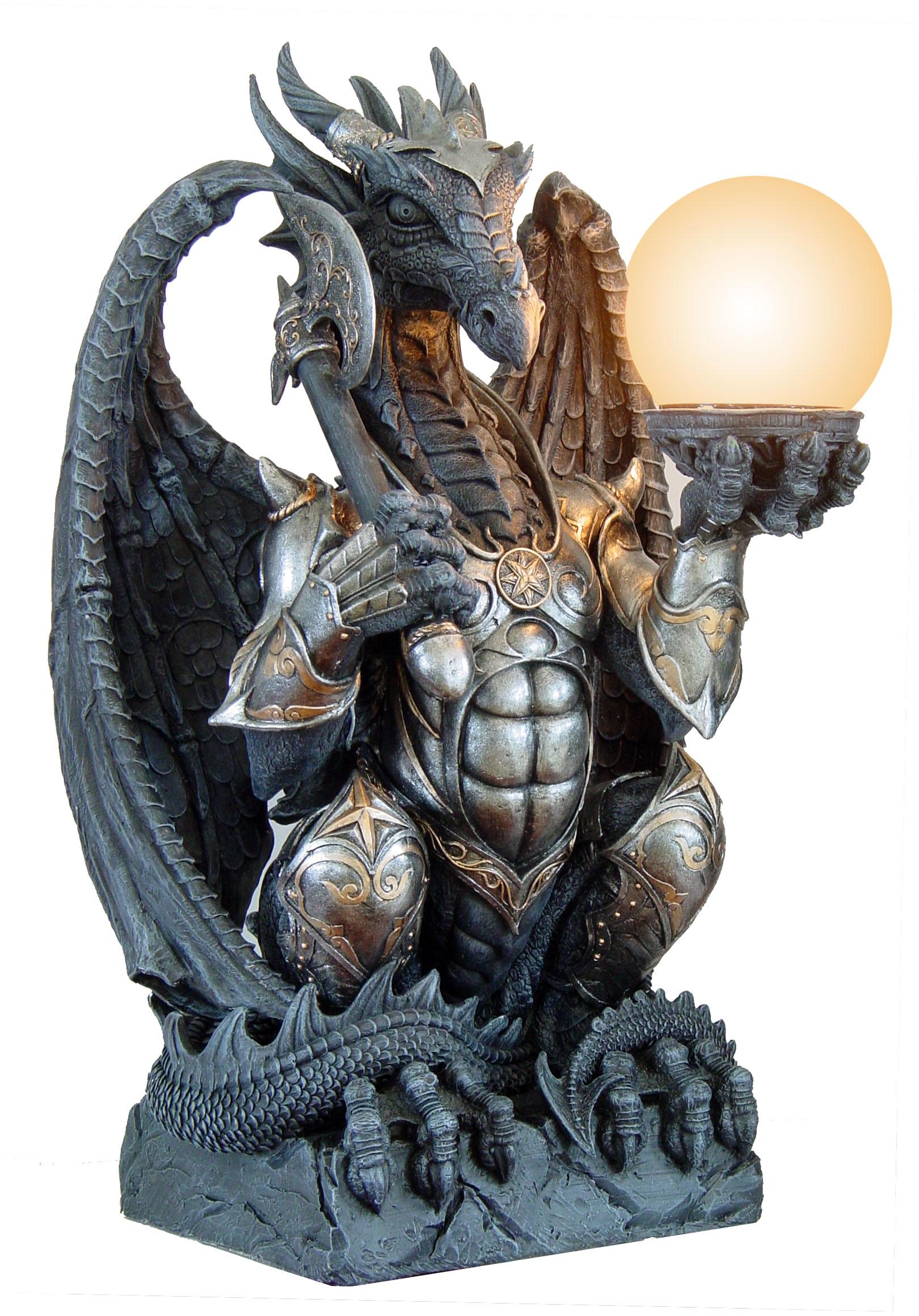 Drago armato con lampada cm. 50