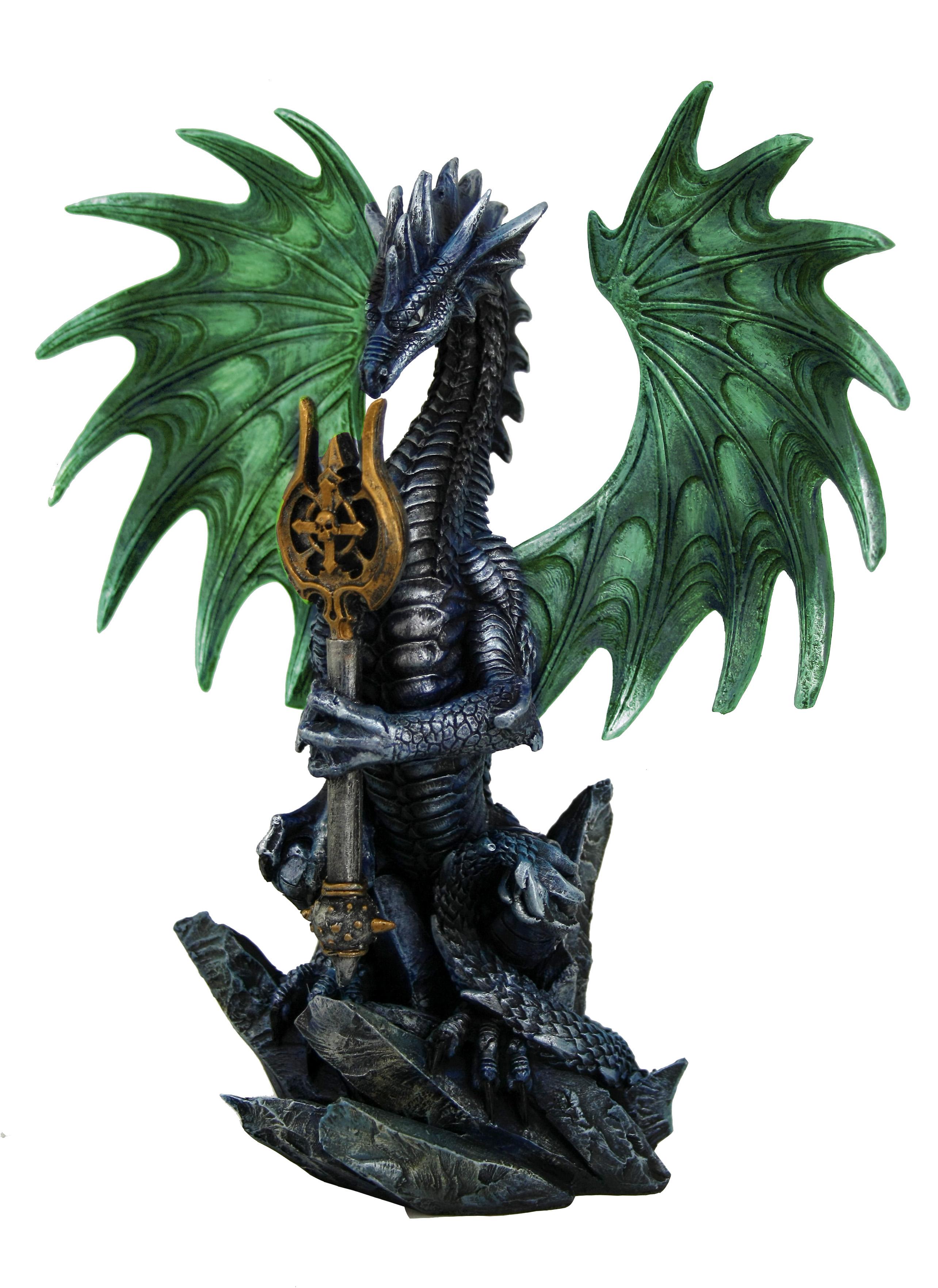 Drago gothic colorato verde c/scettro H cm. 22