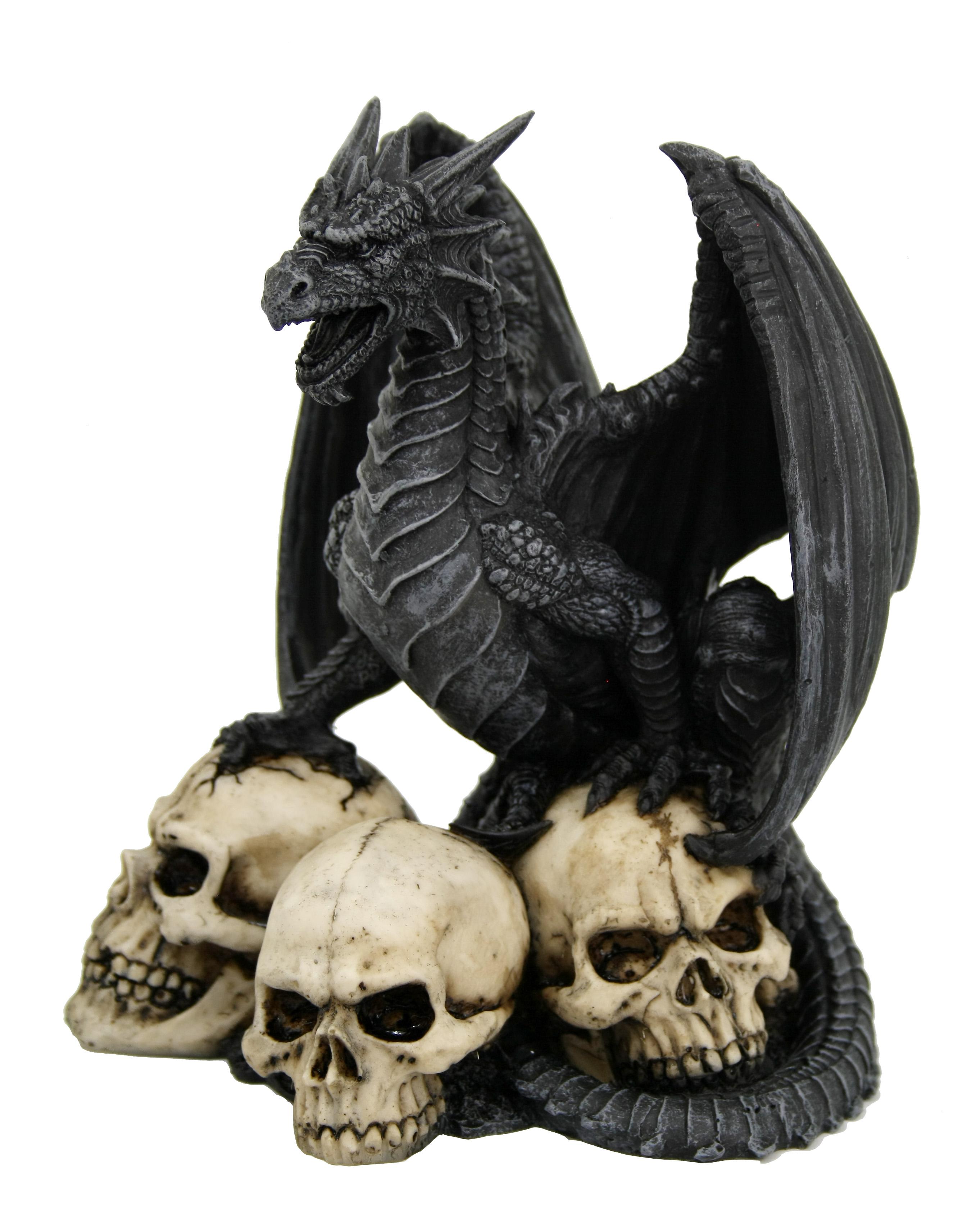 Drago gothic nero con 3 teschi H cm. 22