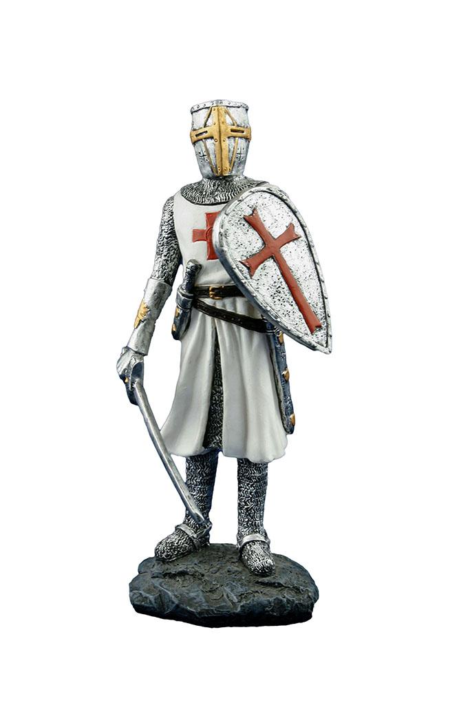 Medievale templare con spada e scudo h cm. 18