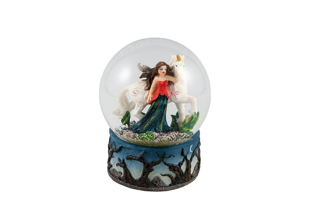 Fatina sfera vetro con unicorno s/3  cm. 10