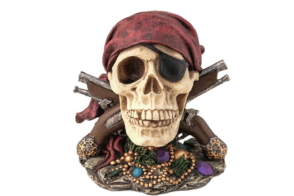 Teschio pirata con pistole h cm. 15x13