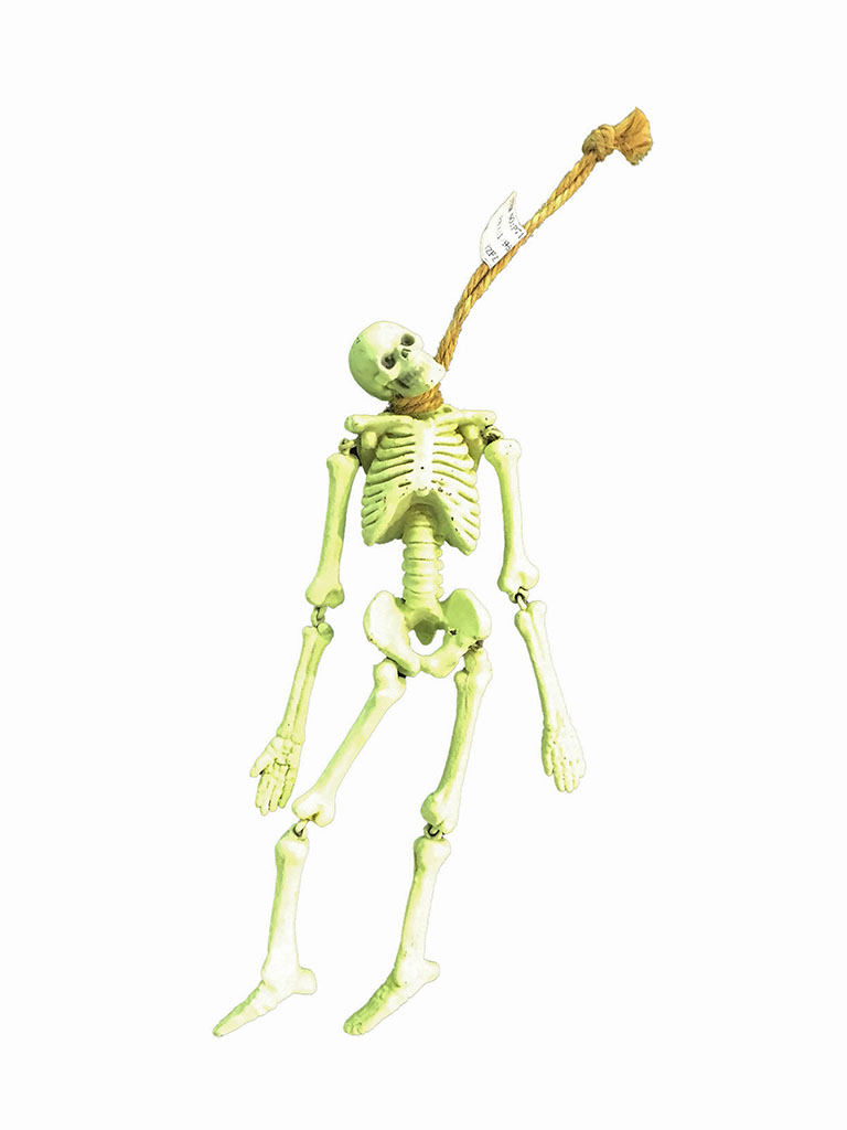 Teschio scheletro impiccato L cm. 20