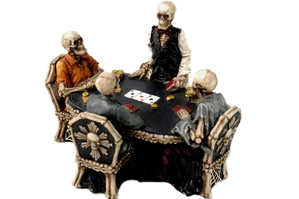 Teschi al tavolo da poker cm. 16x12x10