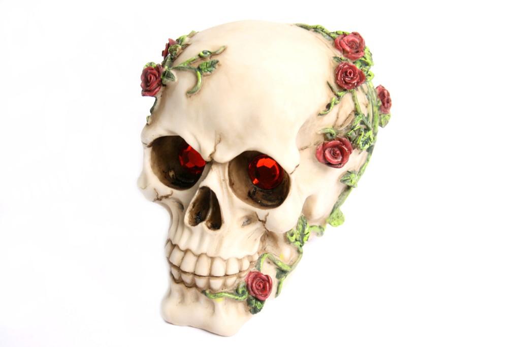Teschio con rose e occhi rossi h cm. 13x14