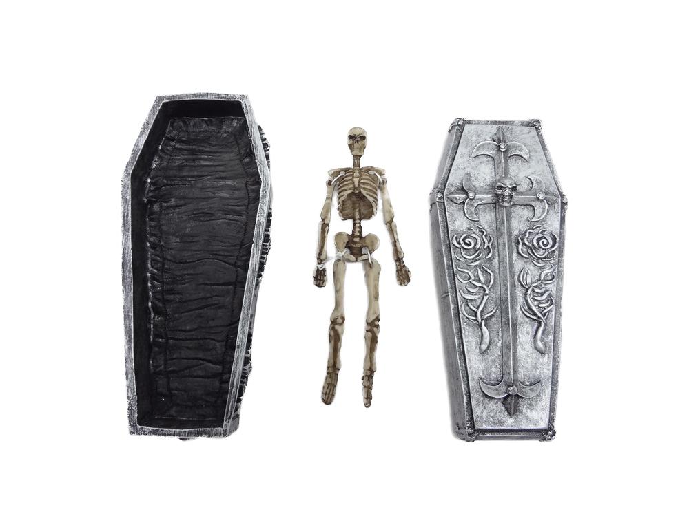 Teschio cassa da morto c/scheletro cm. 17x5