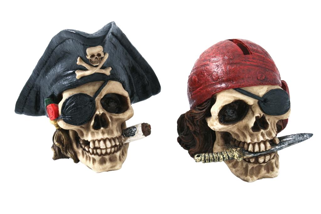 Teschio pirata con bandana salvadenaio H cm.15