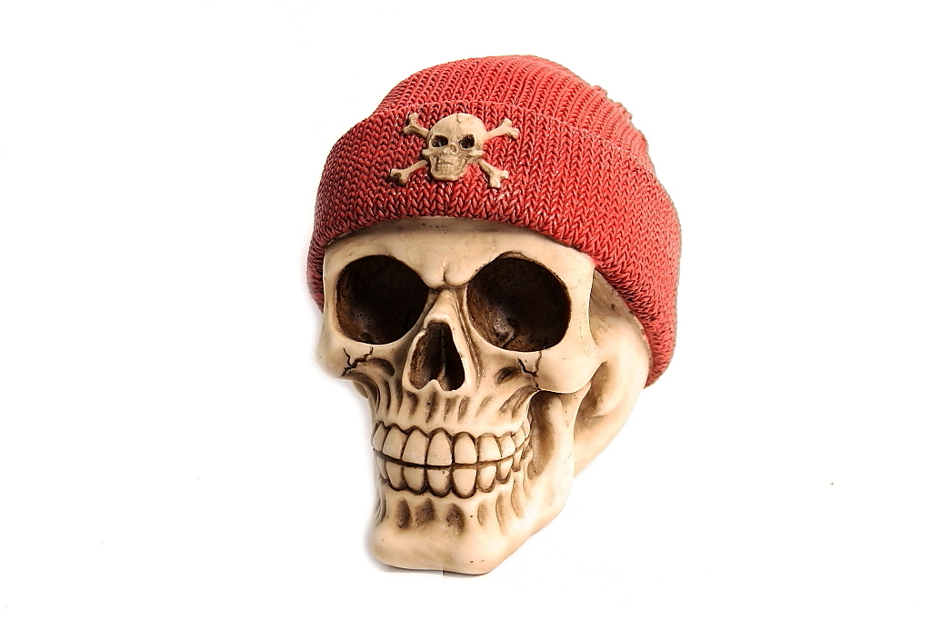 Teschio berretto lana + morte H cm. 13x13