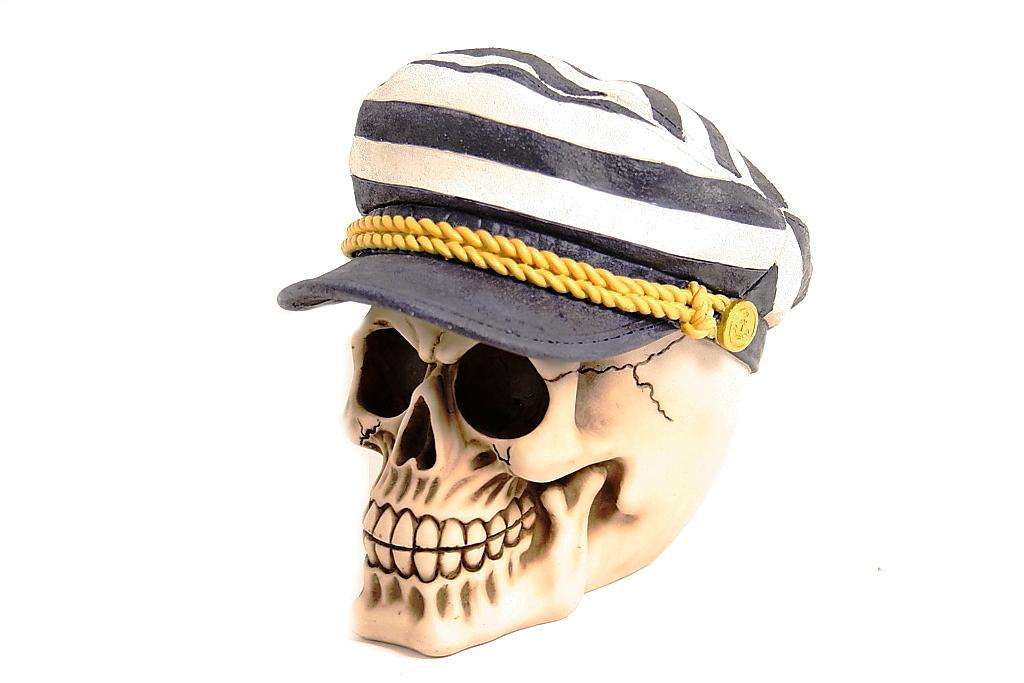 Teschio cappello marinaio righe H cm. 15x15