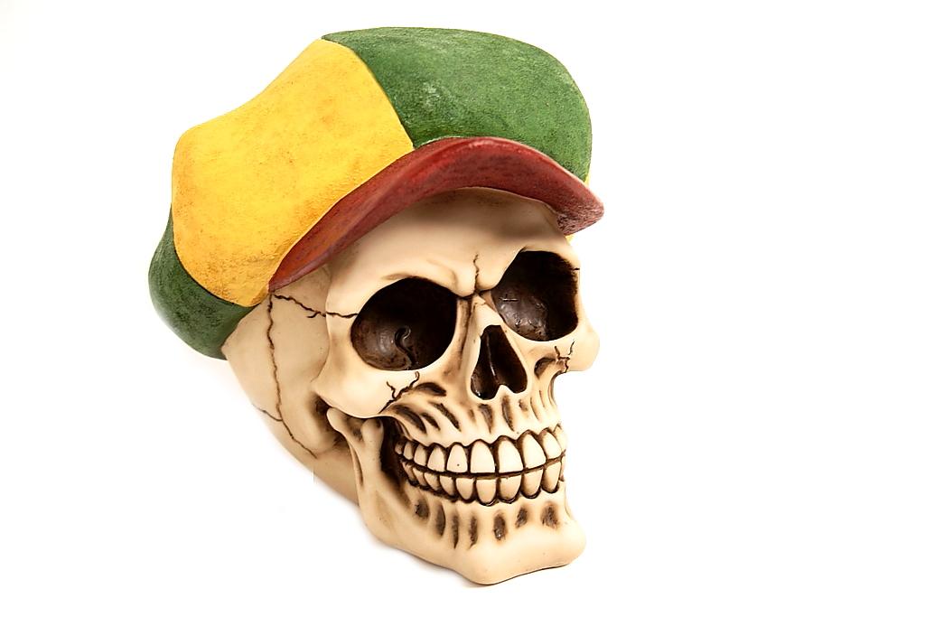 Teschio cappello Jamaica H cm. 15x15