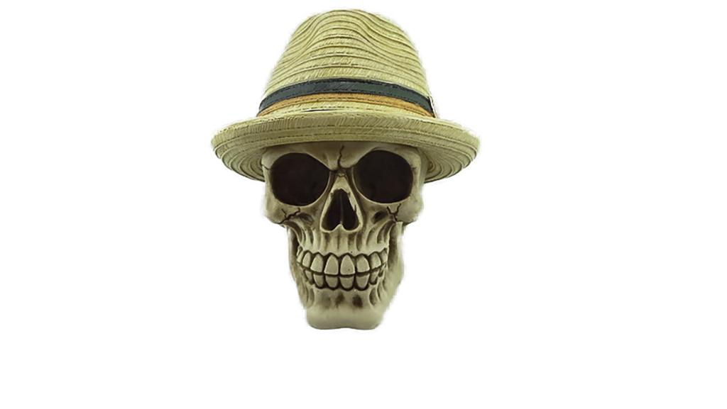 Teschio con cappello panama cm. 13x14