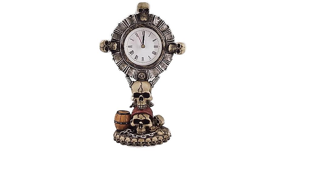 Teschio orologio con teschi H cm. 20