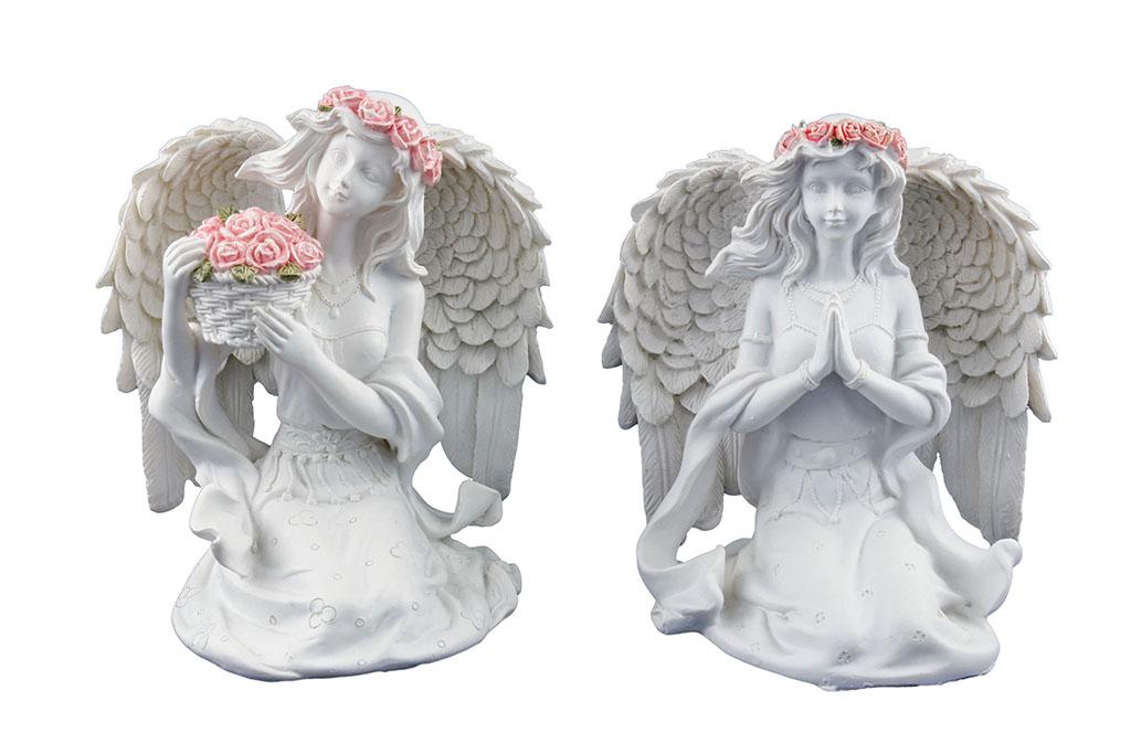 Angeli c/fiora rosa seduto c/cestino rose H cm. 14