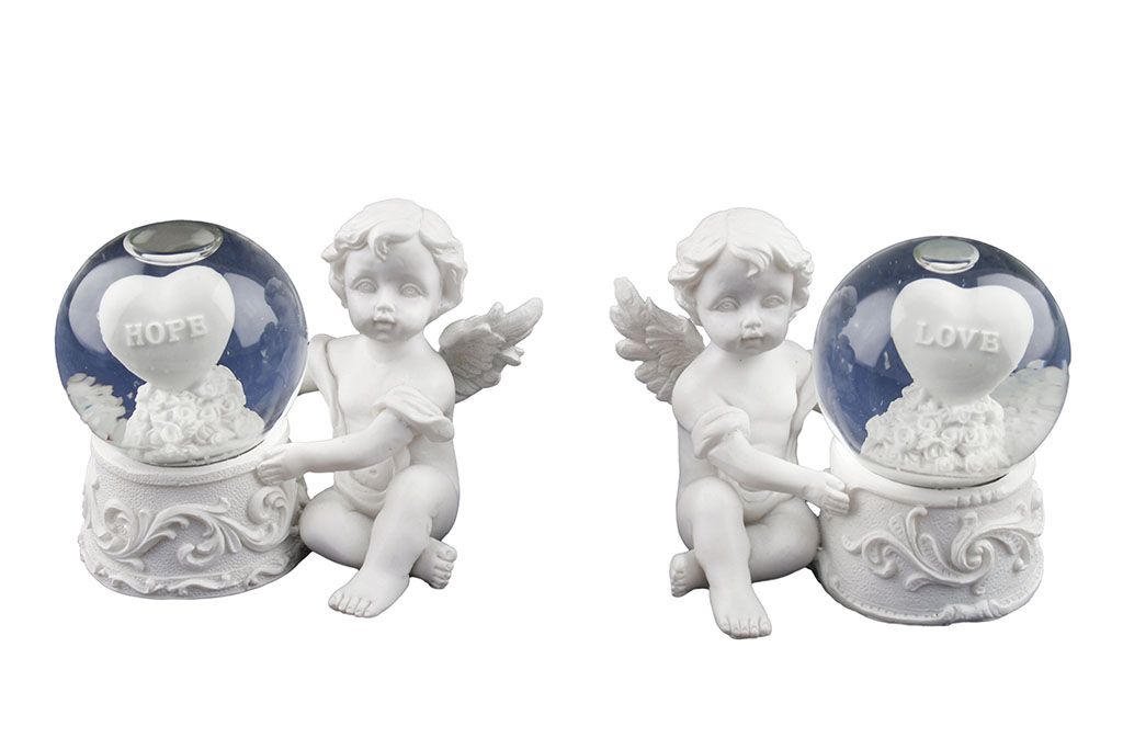 Angeli resina sfera vetro piccola c/angelo seduto h cm. 8x6