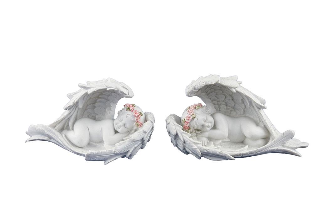 Angeli resina fiori rosa dentro ali medio cm. 14x8