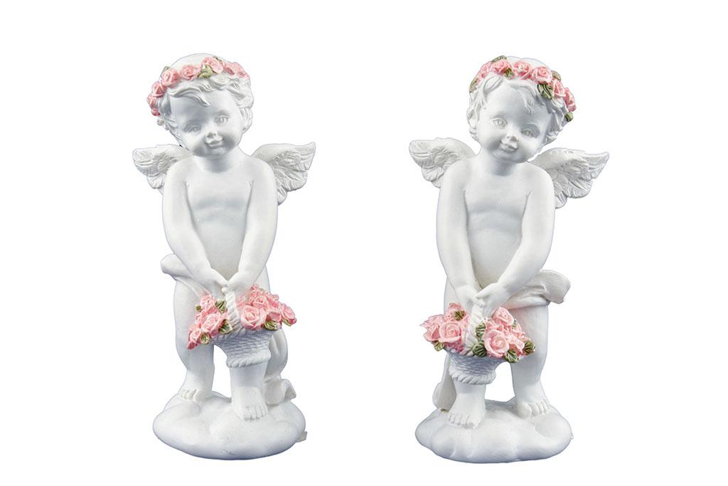 Angeli c/fiori rosa in piedi con cestino H cm. 10x4