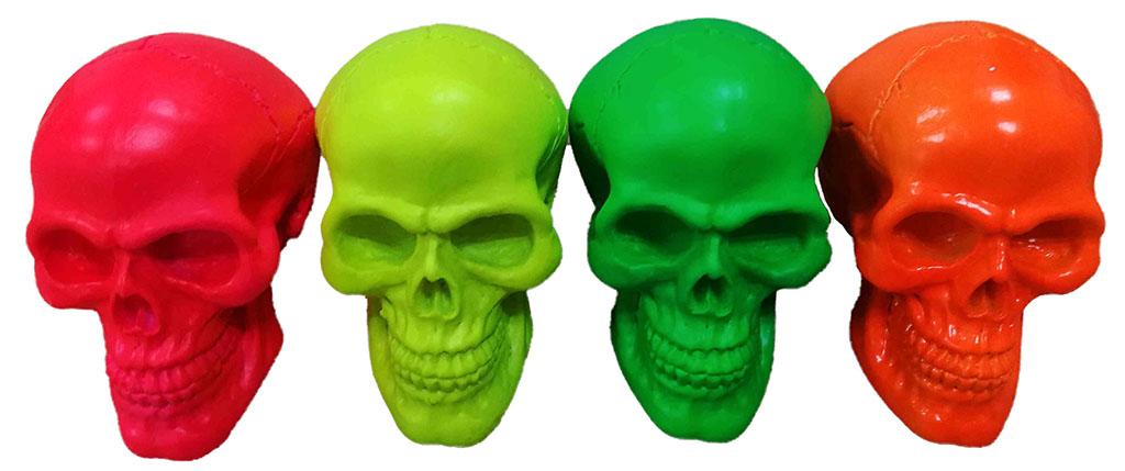 Teschio resina set 4 colori fluorescenti cm. 8x8